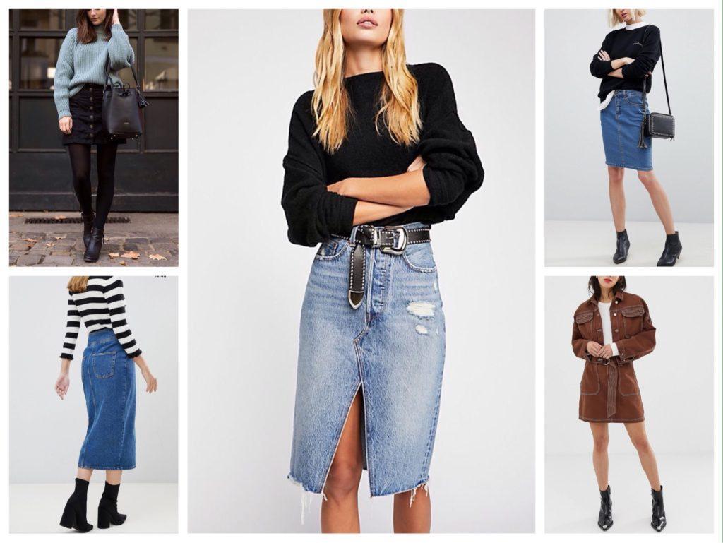 джинсовая юбка для зимы