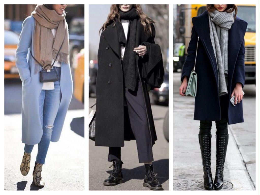 городские образы пальто с шарфами