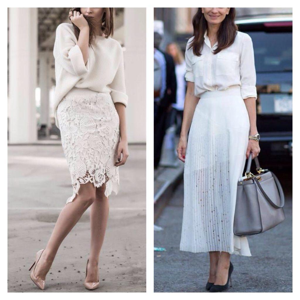 идеи комплектов с белой юбкой