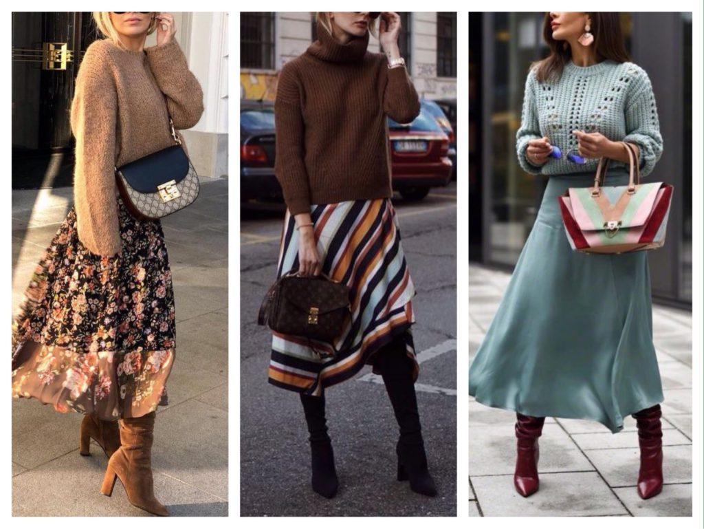 легкие длинные юбки с сапогами