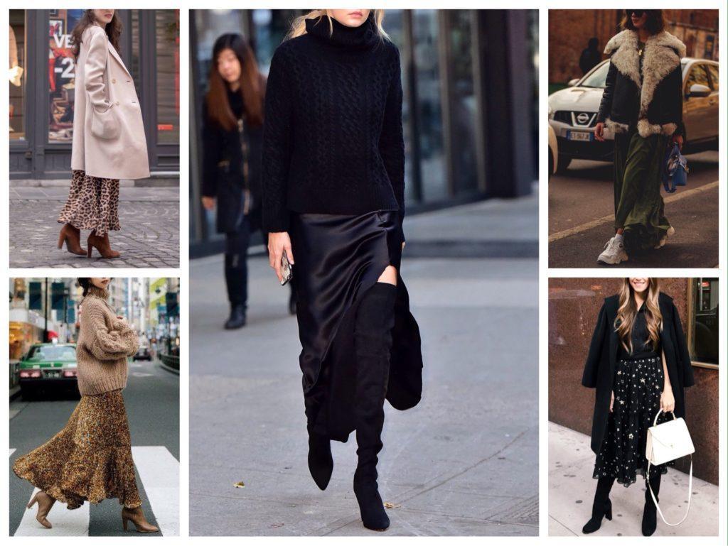 легкие юбки макси в зимних луках