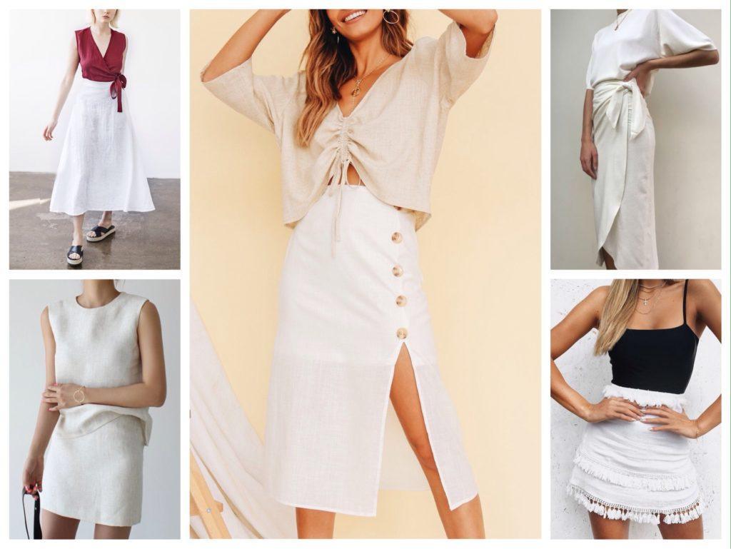 льняная белая юбка фото
