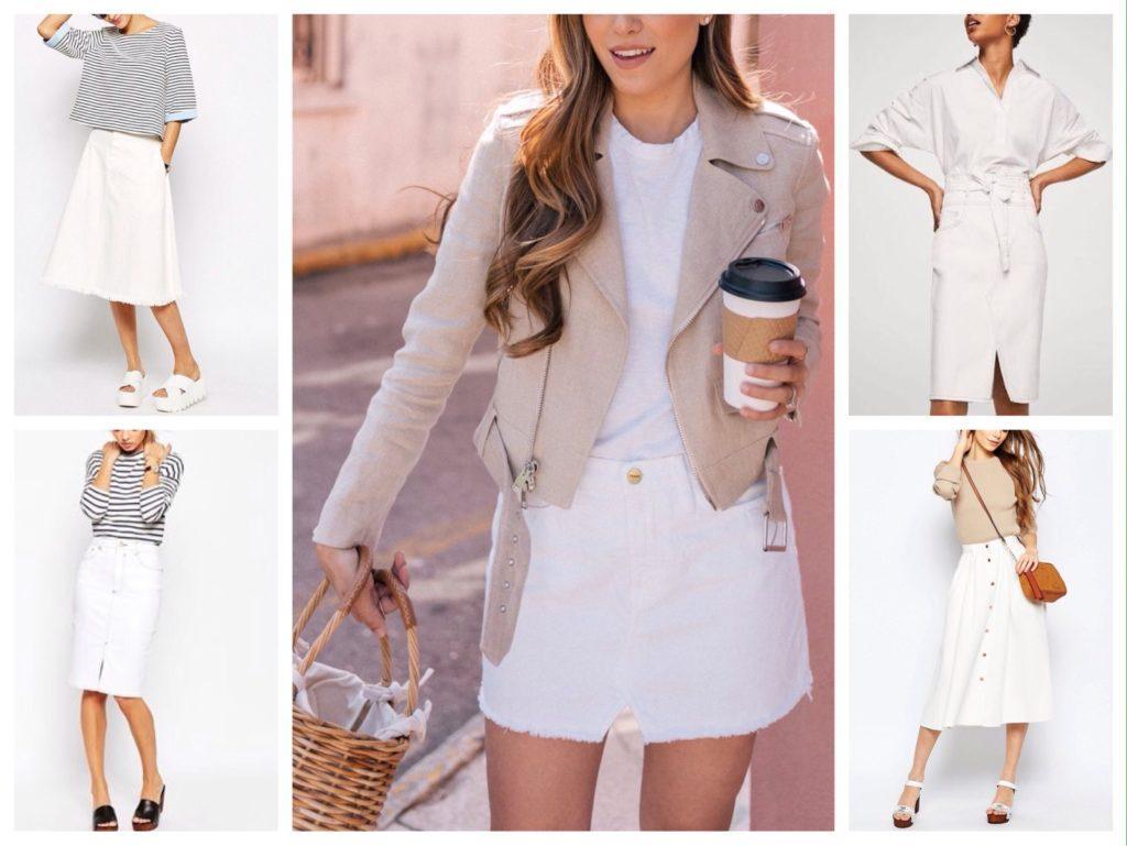 луки с белой джинсовой юбкой