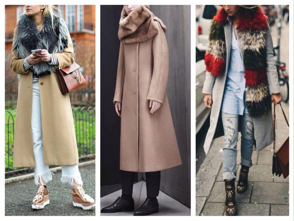 меховой шарф с пальто