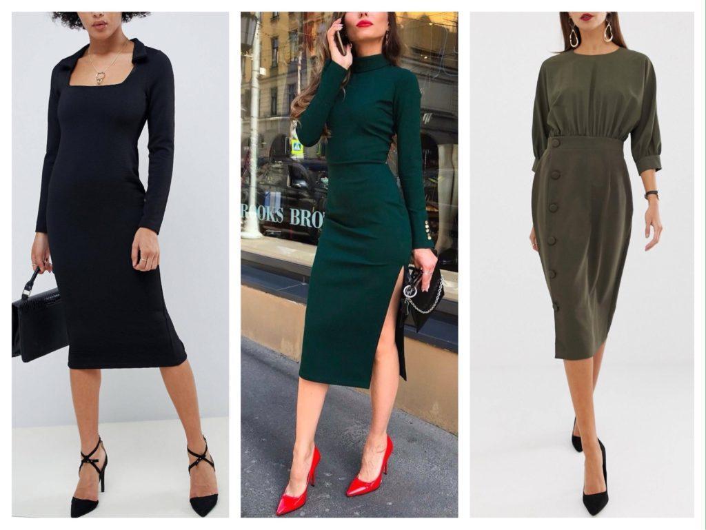 модели платья с длинными рукавами