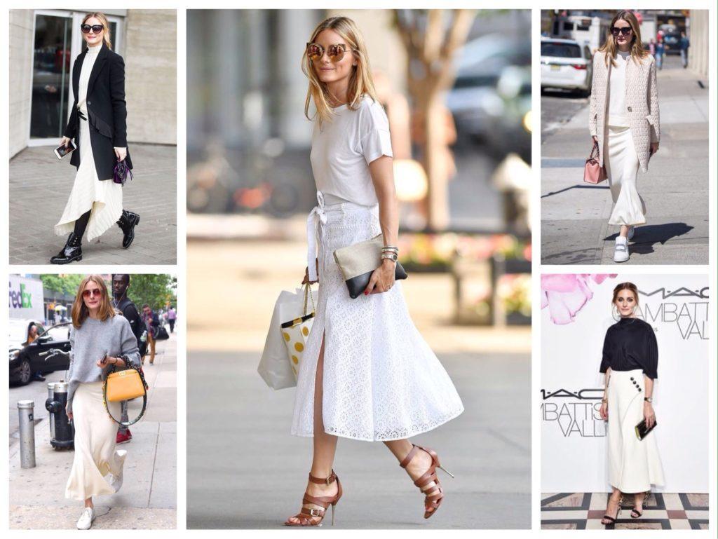 образы Оливии Палермо в белых юбках