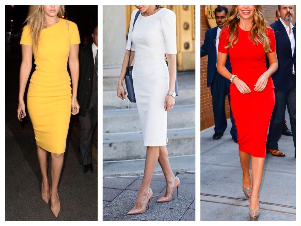платье футляр с короткими рукавами