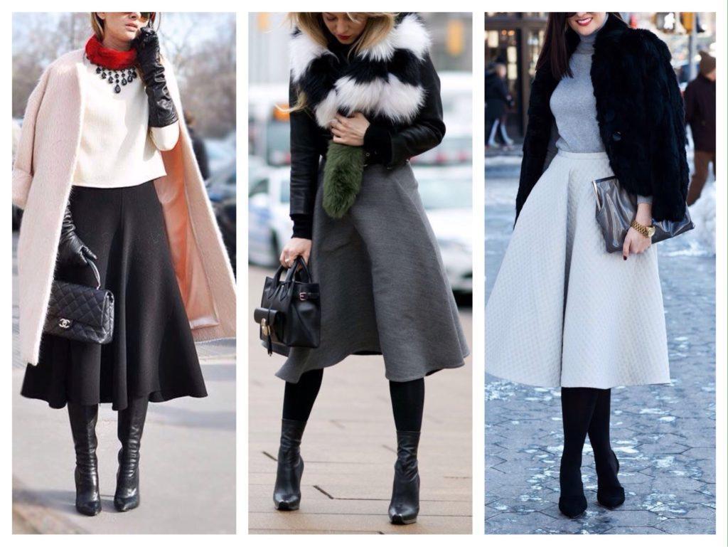 расклешенная юбка зимой