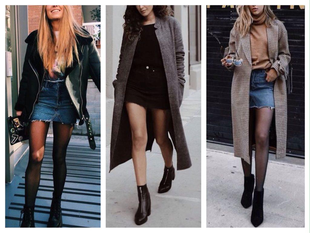 с чем носить джинсовую юбку зимой