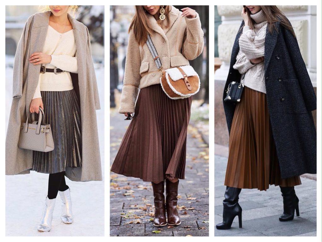 с чем носить плиссированную юбку зимой