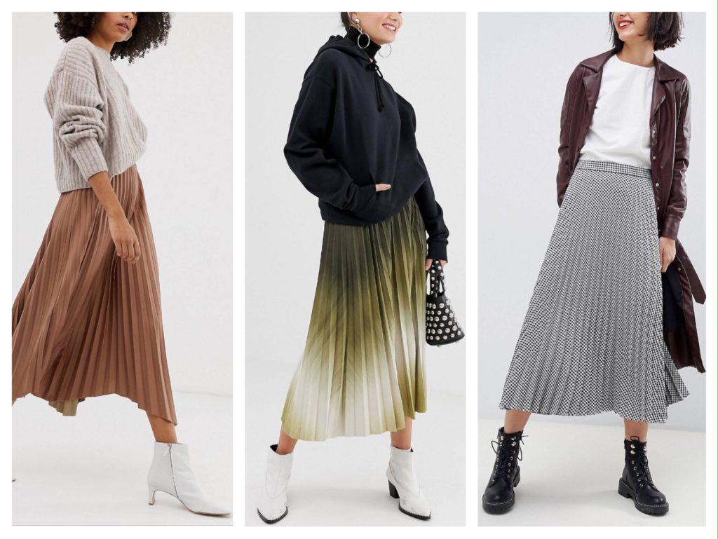 зимние образы с юбками плиссе