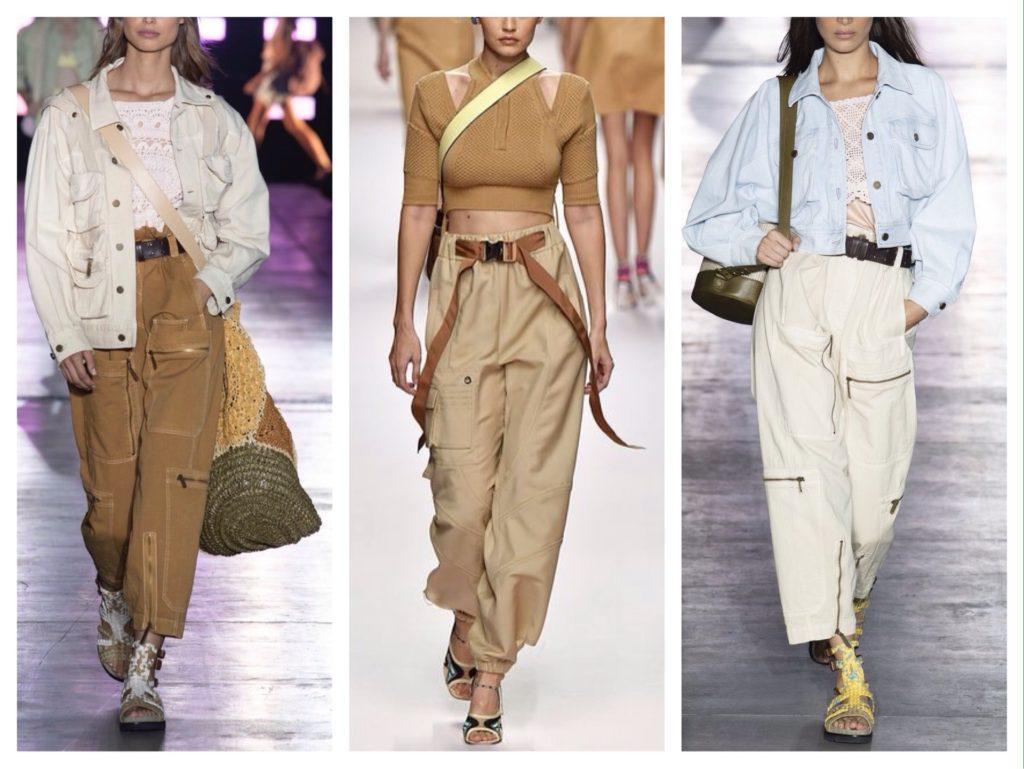 брюки карго в модных показах