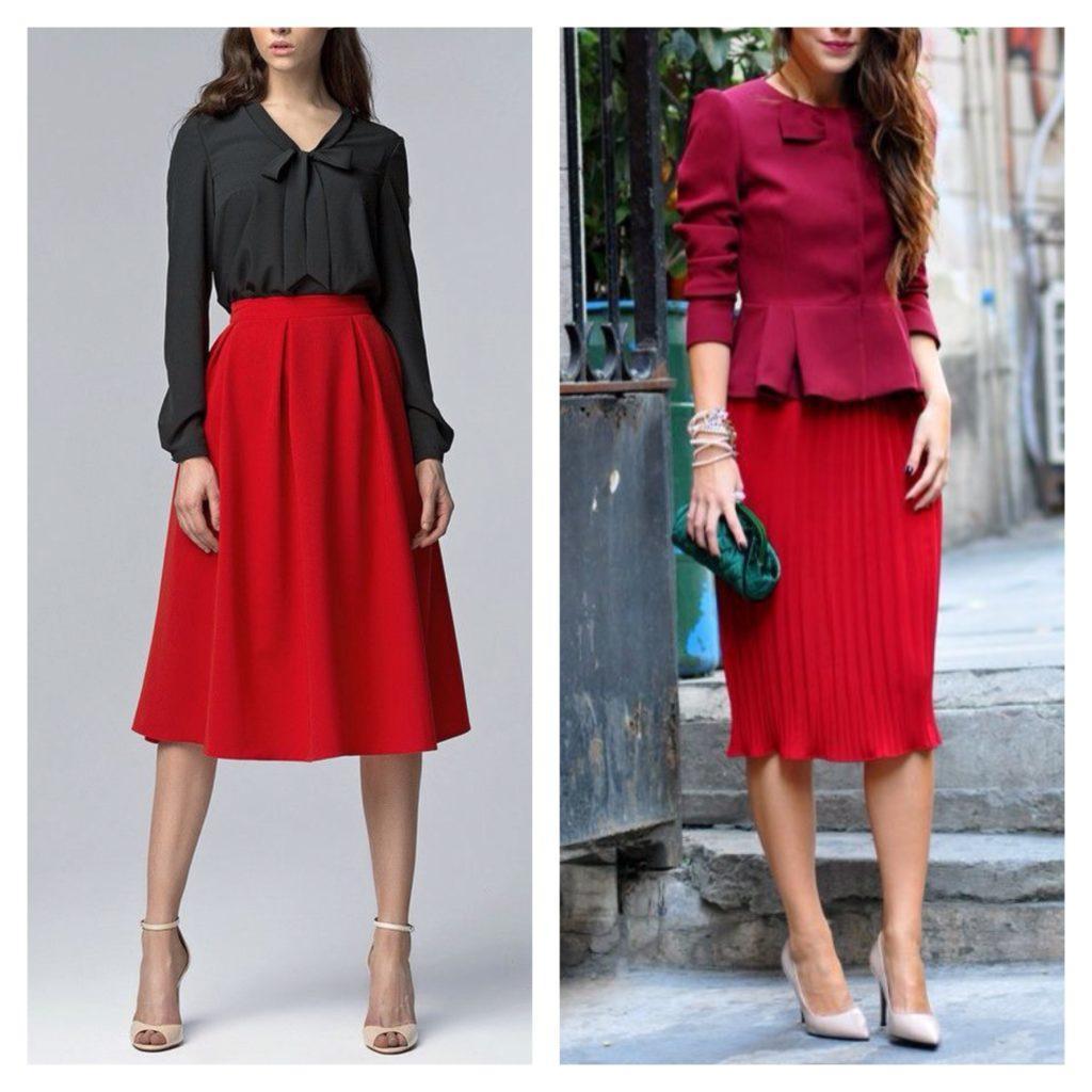 деловые образы с красной юбкой