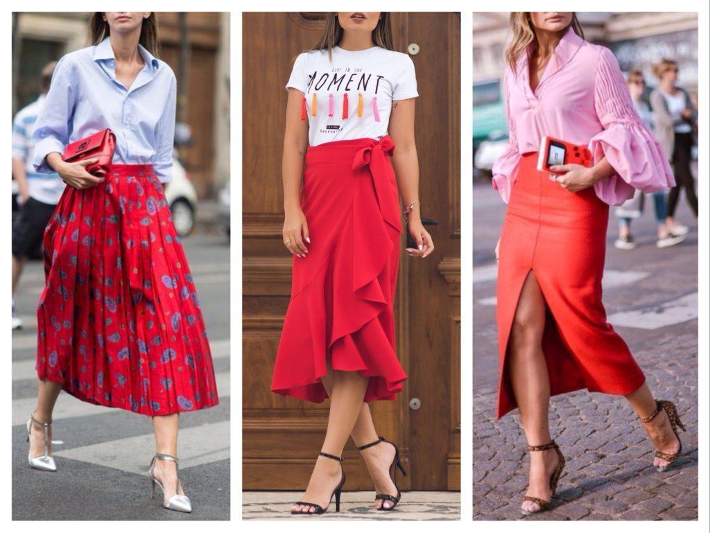 комплекты с красной юбкой фото