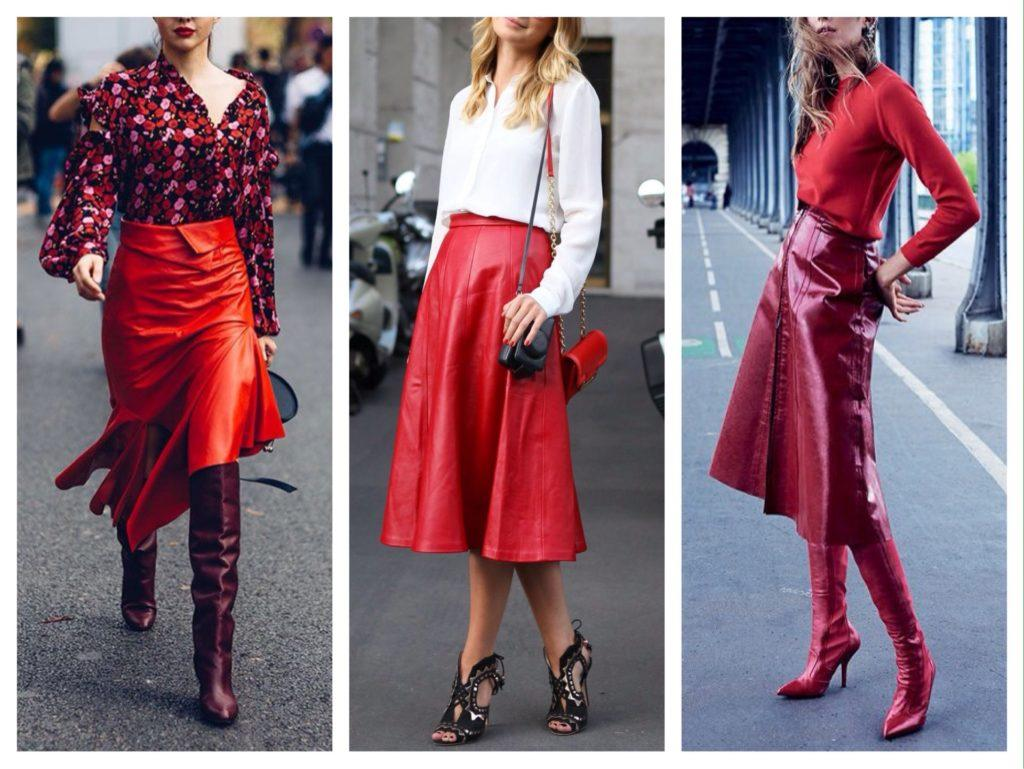 кожаная красная юбка