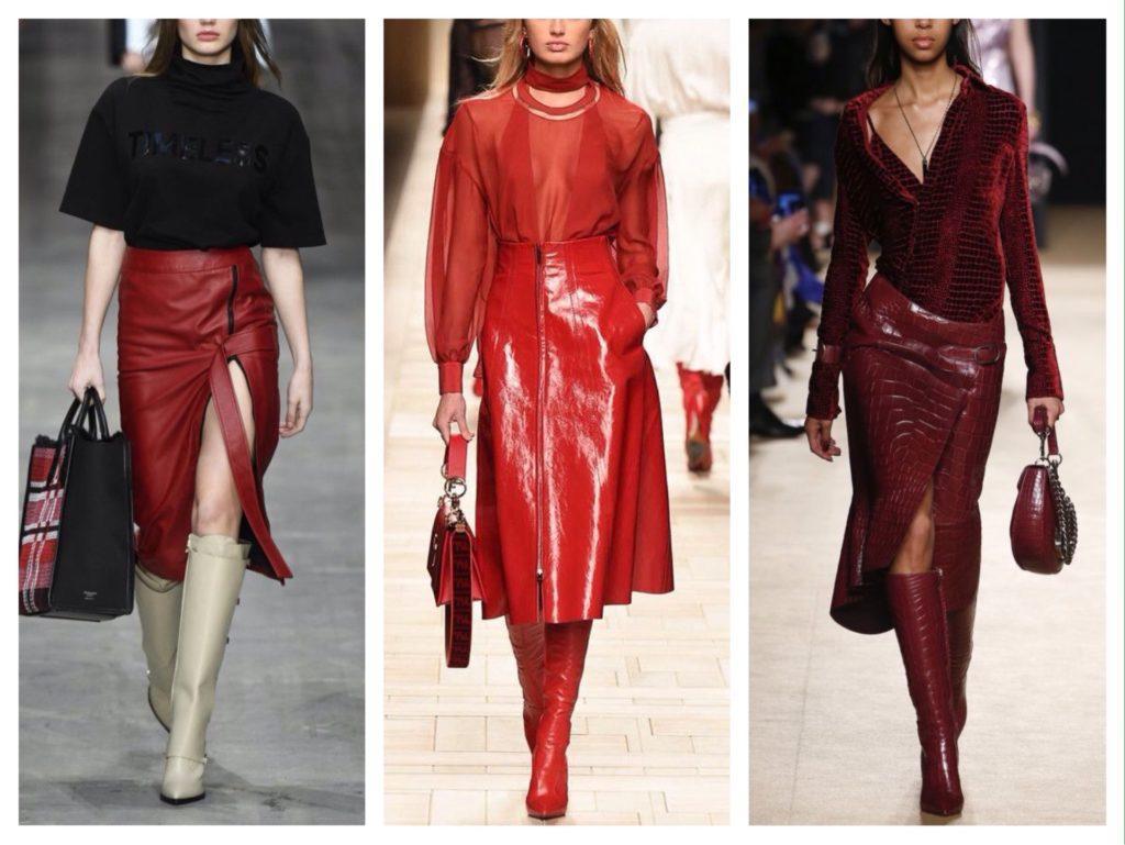 красная кожаная юбка подиумы