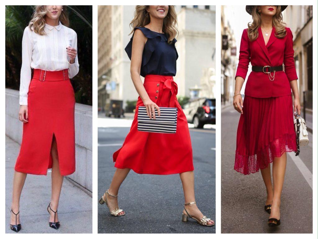 красная юбка миди фото