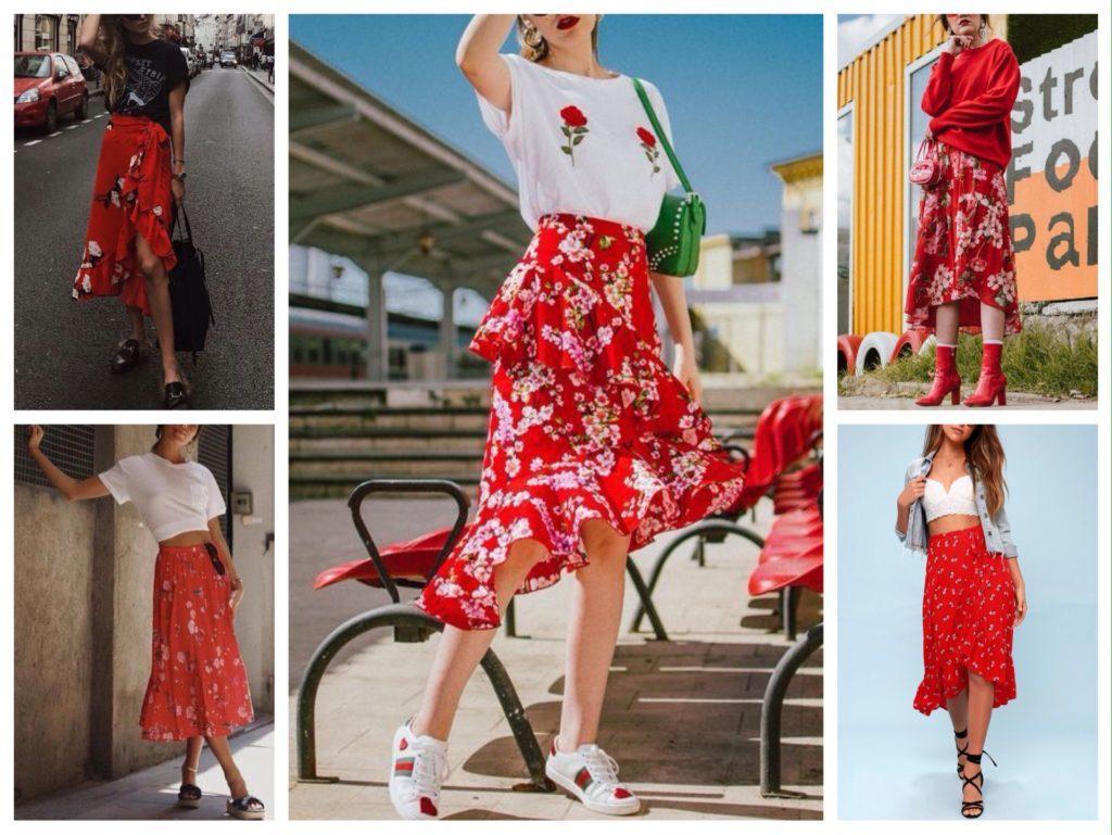 красная юбка в цветочек