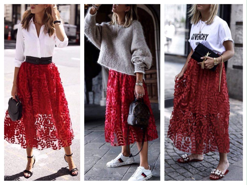 красная кружевная юбка фото