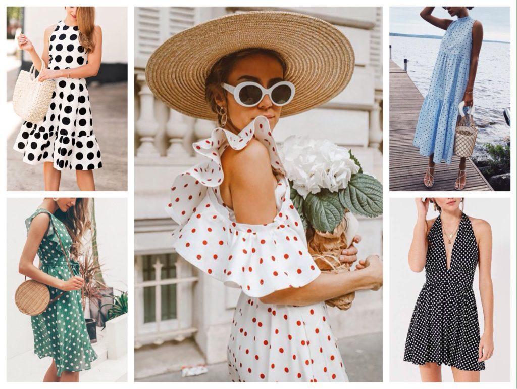 летние модели платье в горох