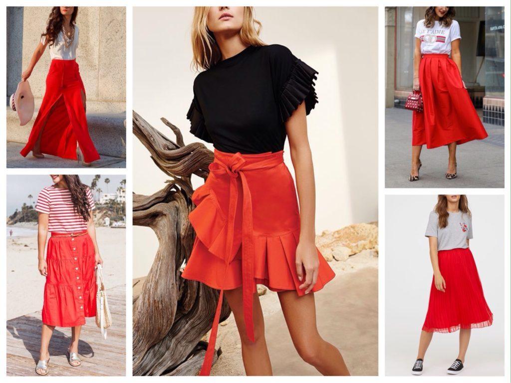 летние юбки красного цвета