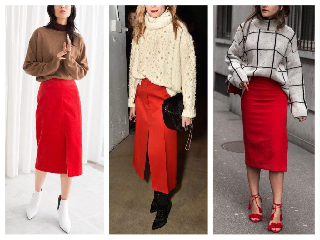 образы с красной юбкой