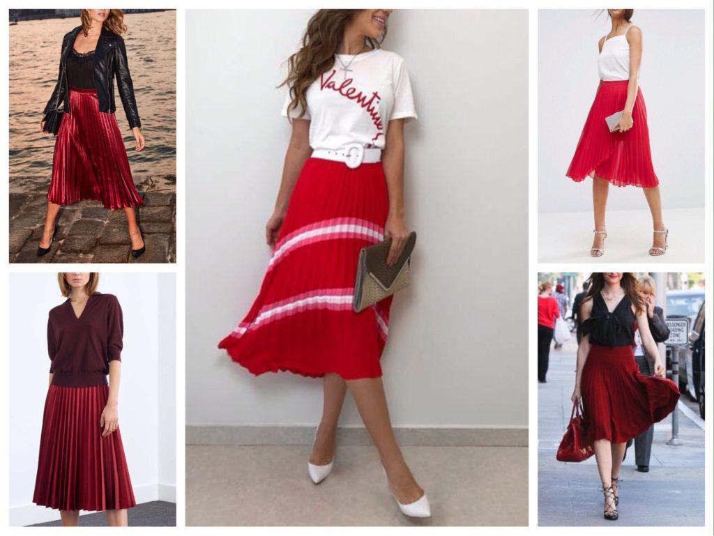 красная плиссированная юбка фото