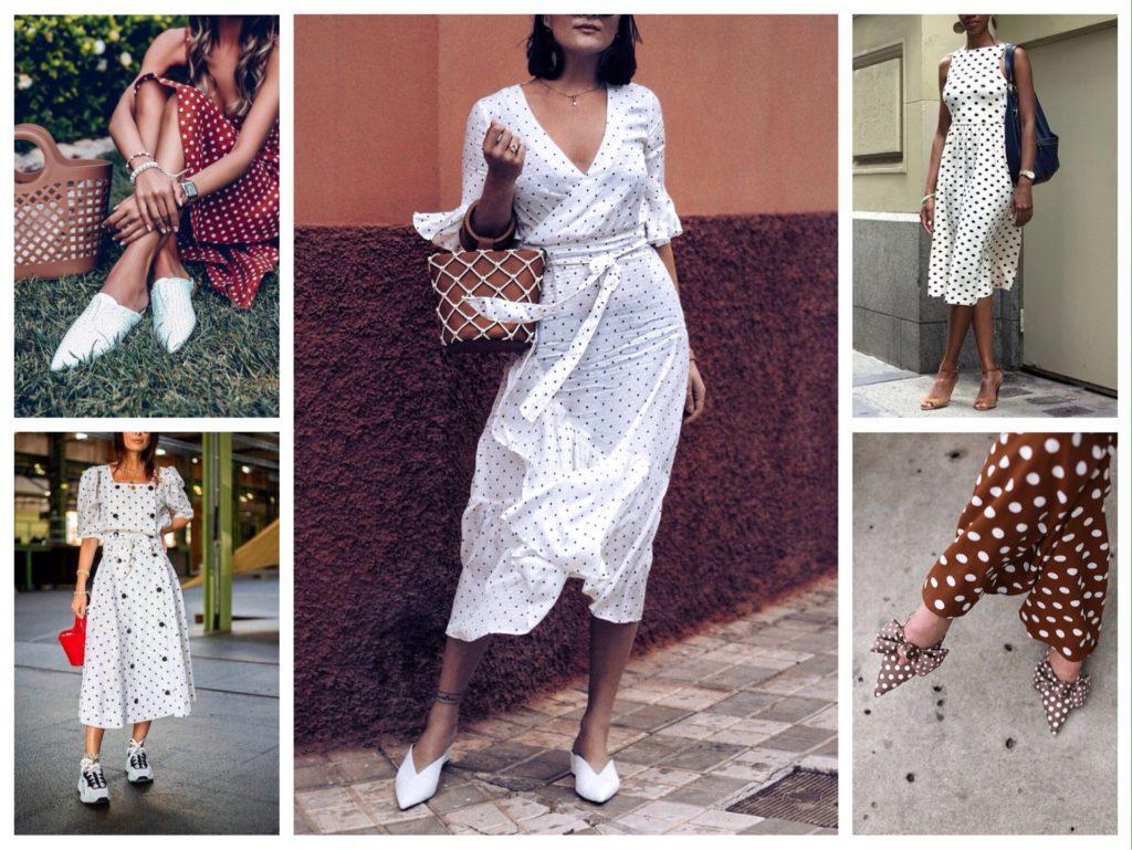 обувь с платьем в горошек
