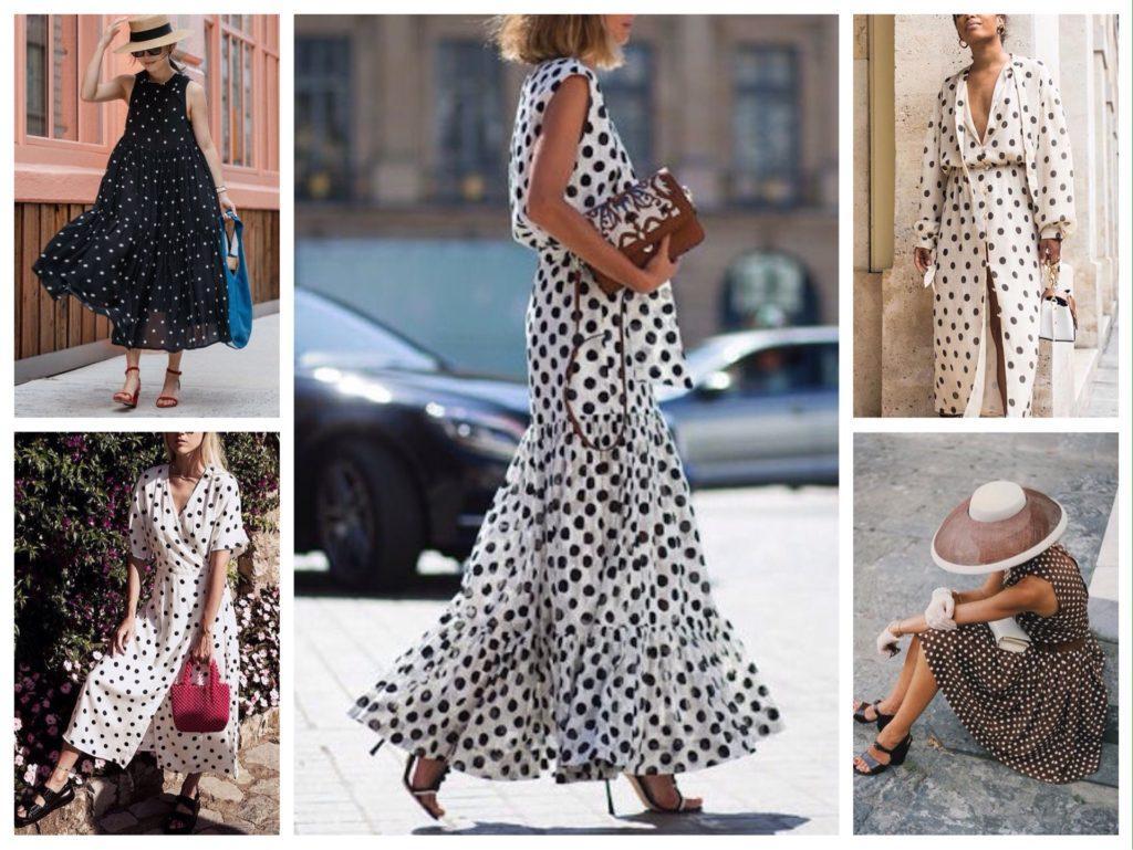 платье в горошек в повседневных образах