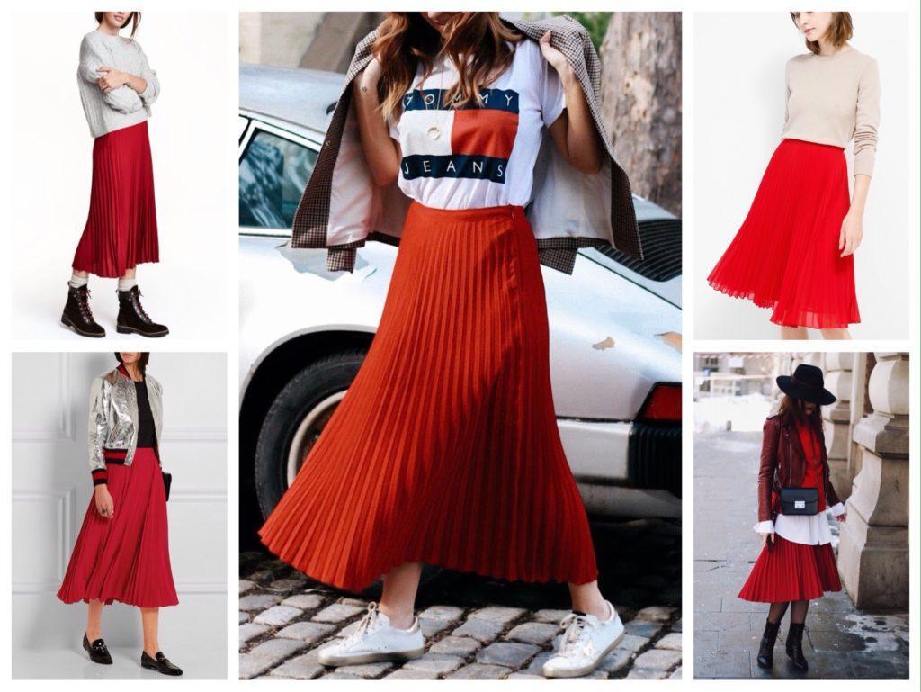 плиссированная красная юбка