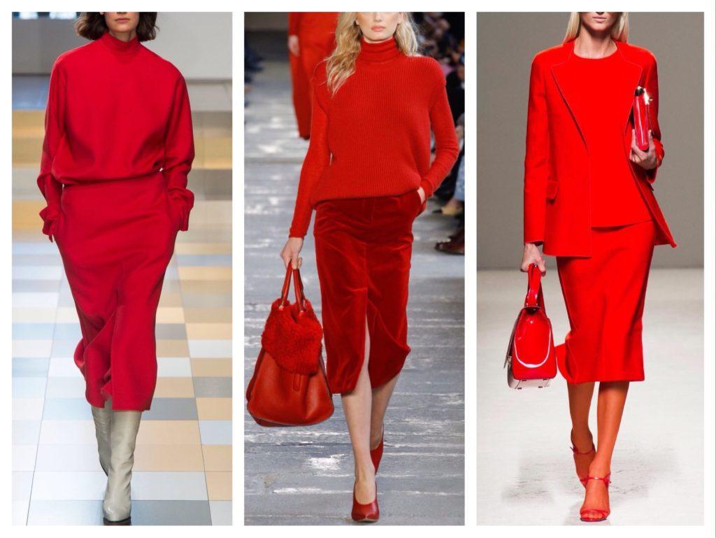 подиумные образы с красной юбкой