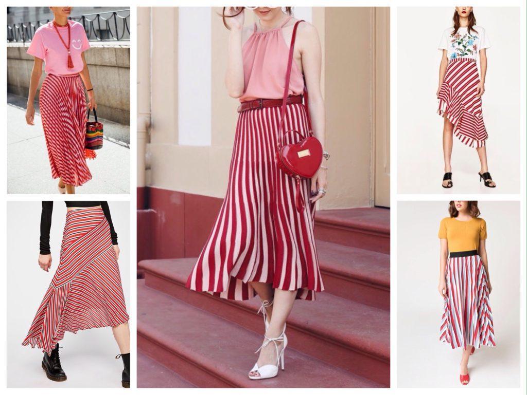 полосатая красная юбка фото