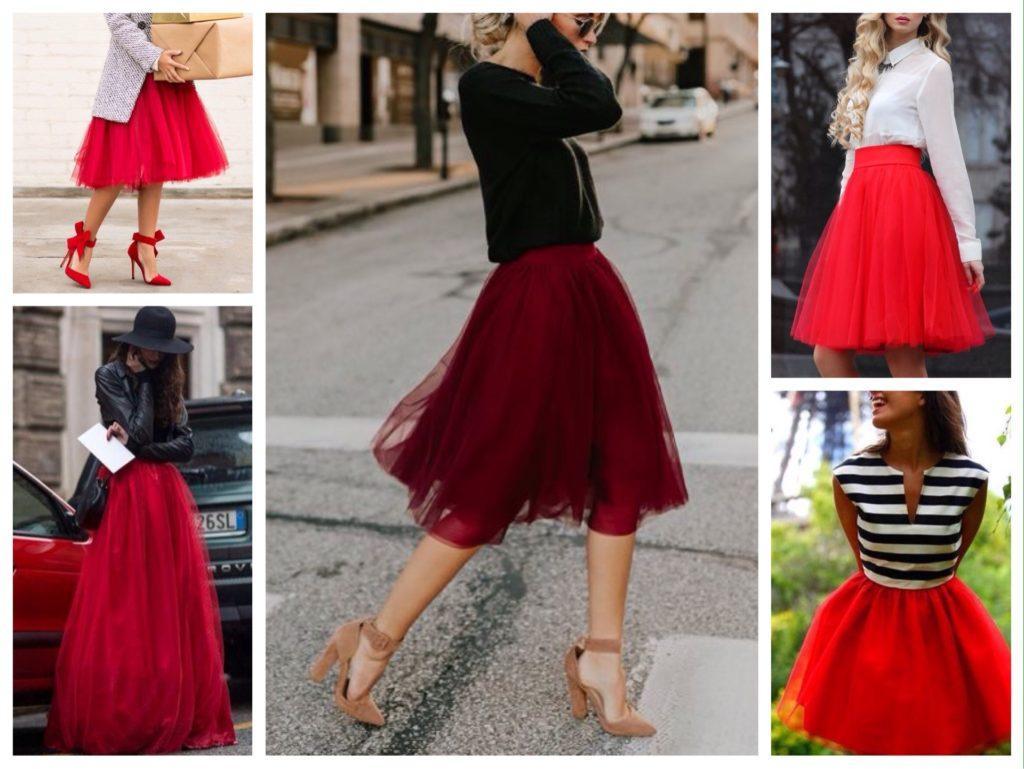 пышная юбка пачка красная фото