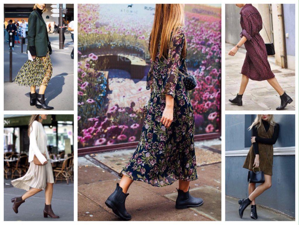платье с ботинками челси