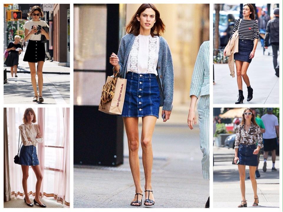 Алекса Чанг джинсовая юбка образы