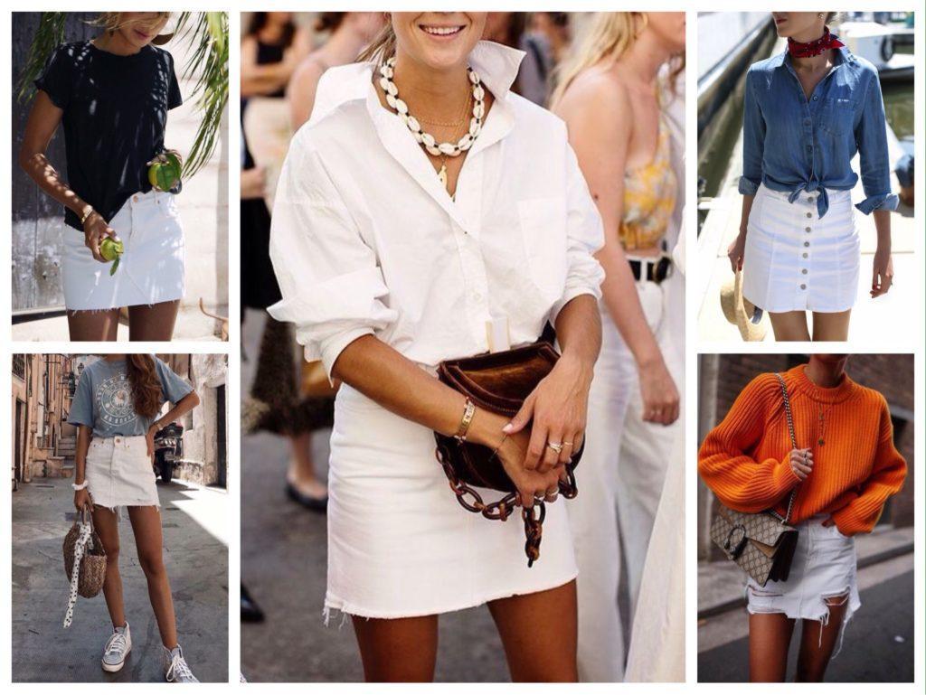 белая джинсовая юбка с чем носить