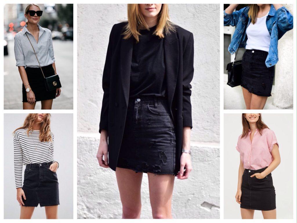 черная джинсовая юбка фото