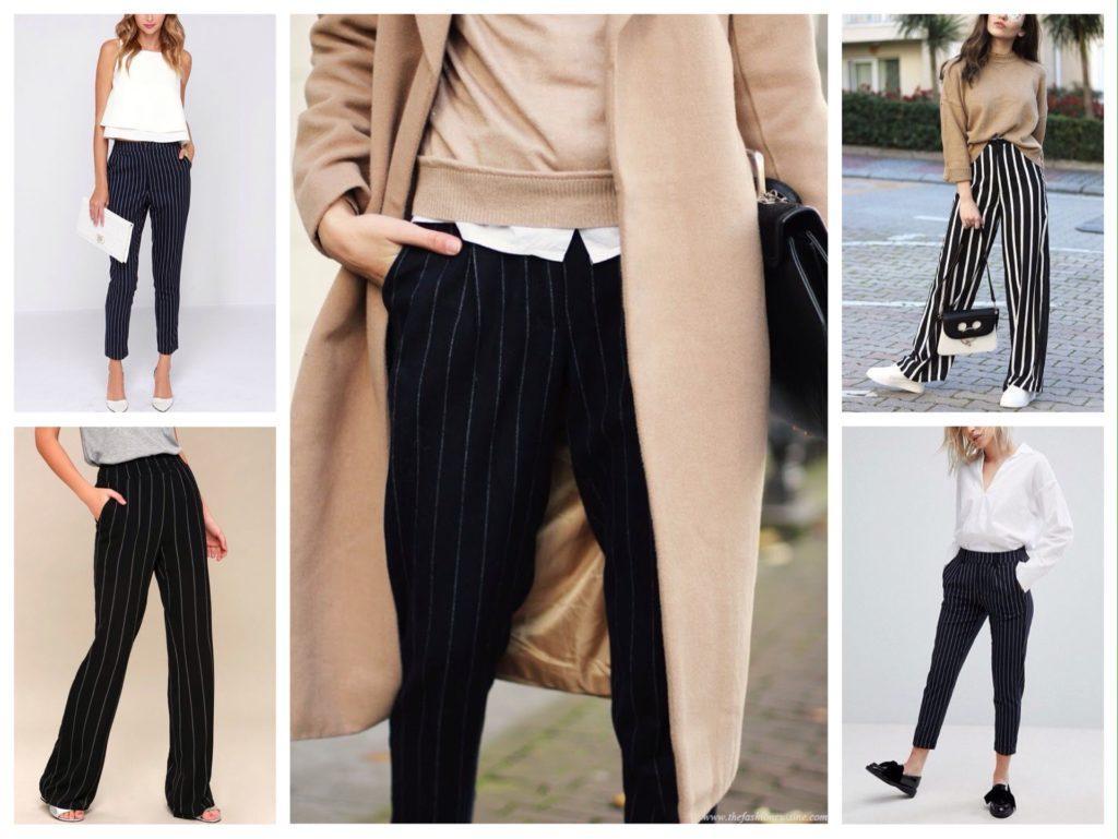 черные брюки в полоску