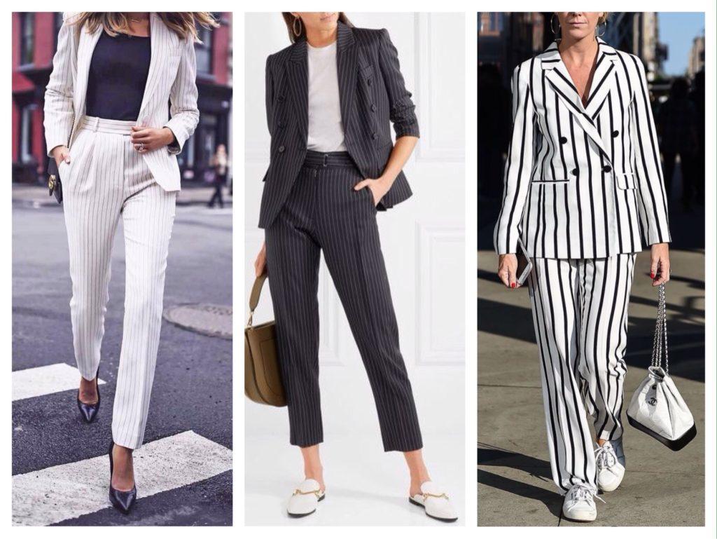 деловые комплекты с полосатыми брюками