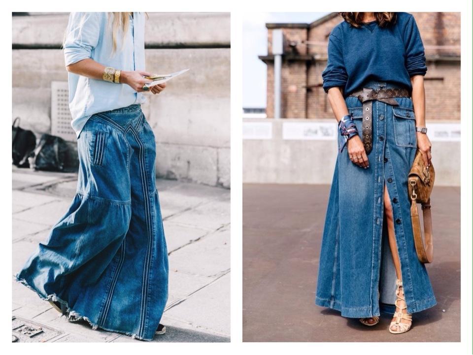 длинная джинсовая юбка фото