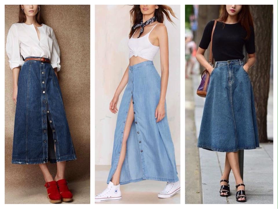 джинсовая юбка длинная модель
