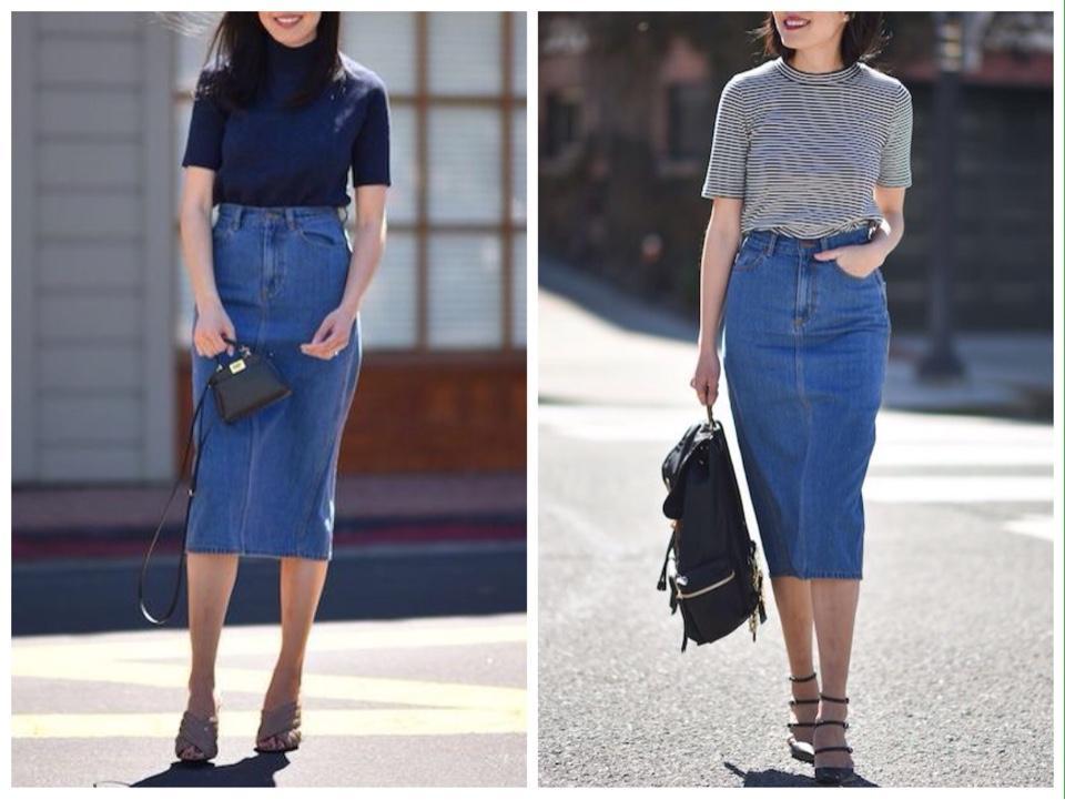 джинсовая юбка карандаш фото