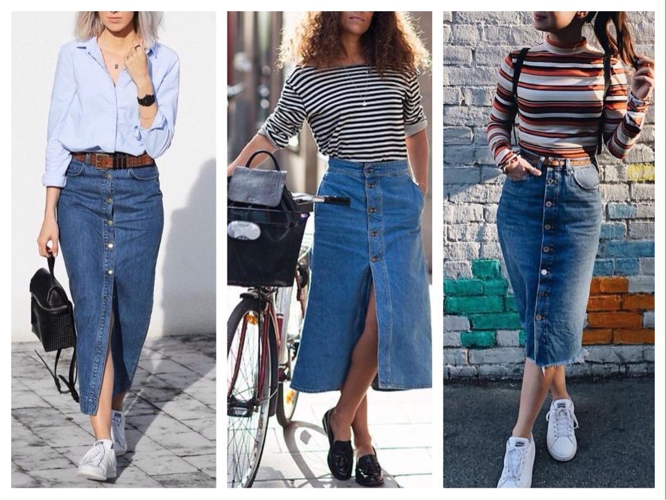 джинсовая юбка макси с пуговицами спереди