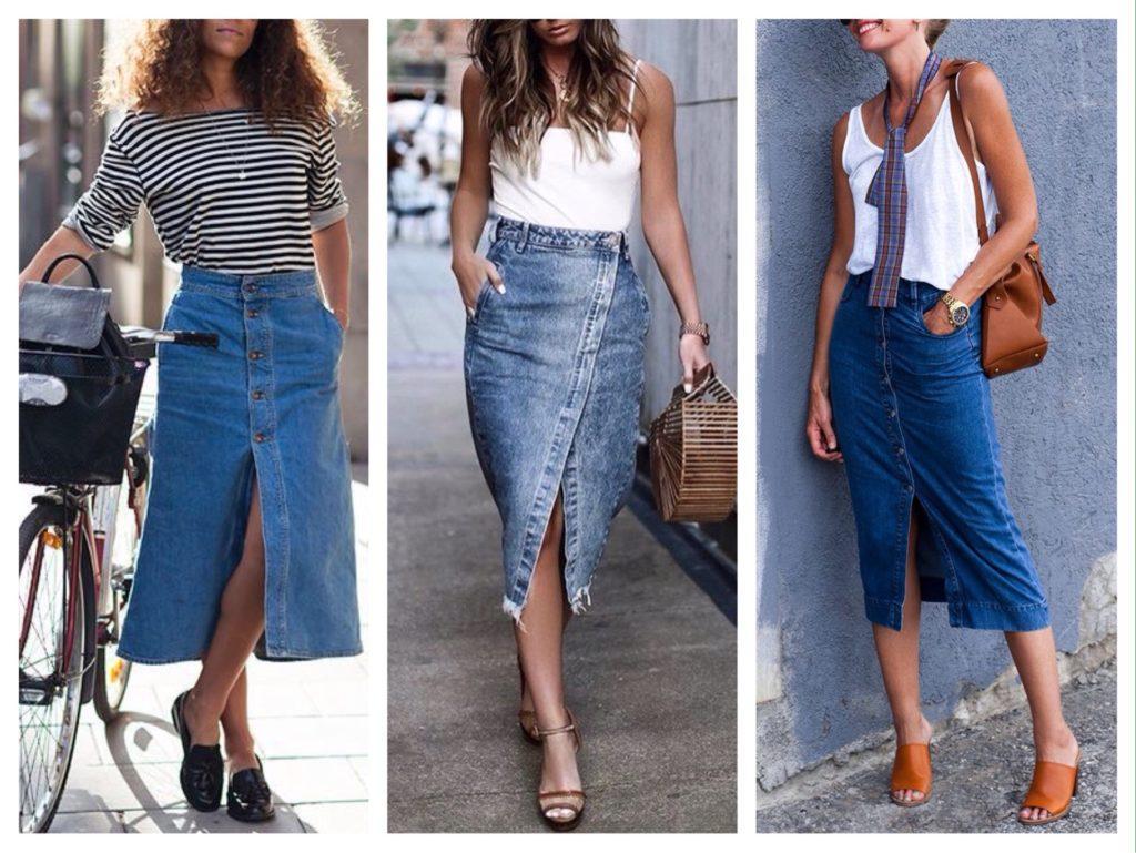 джинсовая юбка миди фото