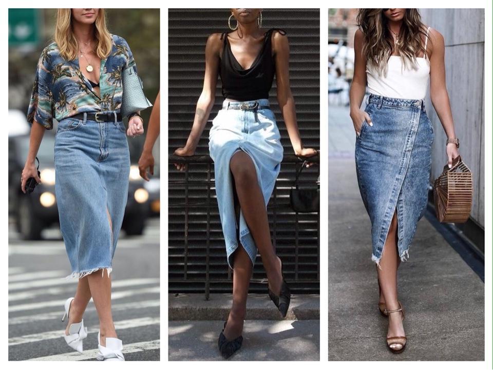 джинсовая юбка миди с разрезом