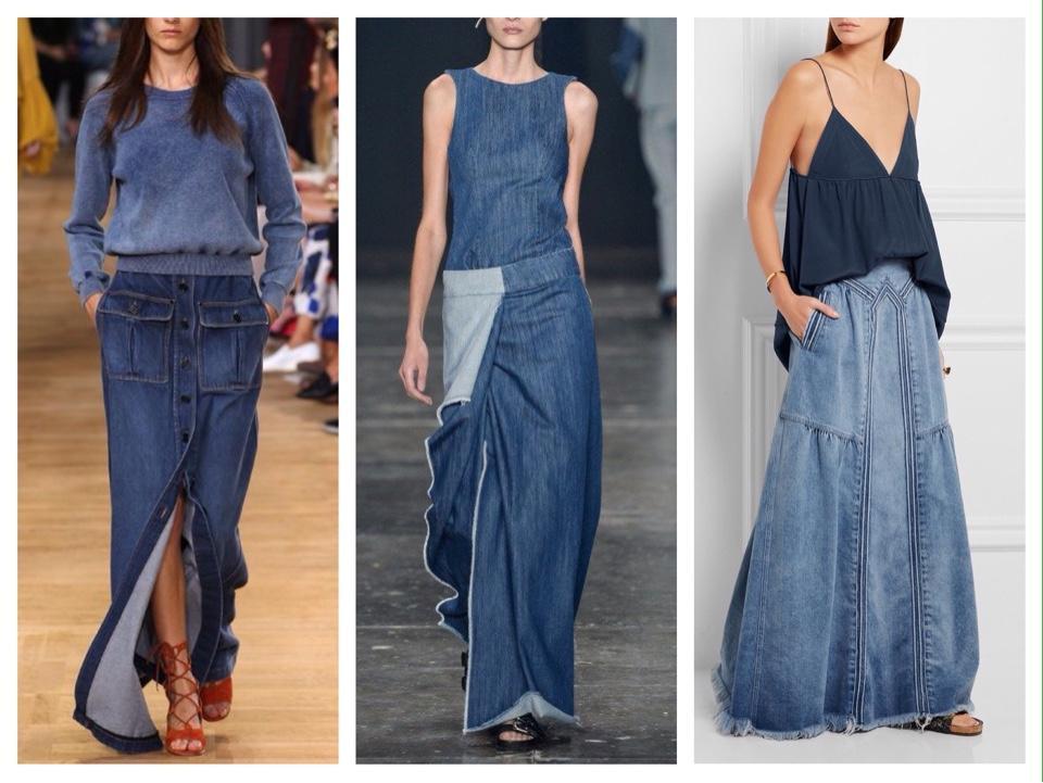 джинсовая юбка образы с подиумов