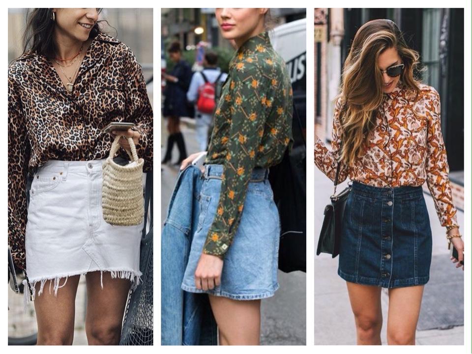 джинсовая юбка с блузкой