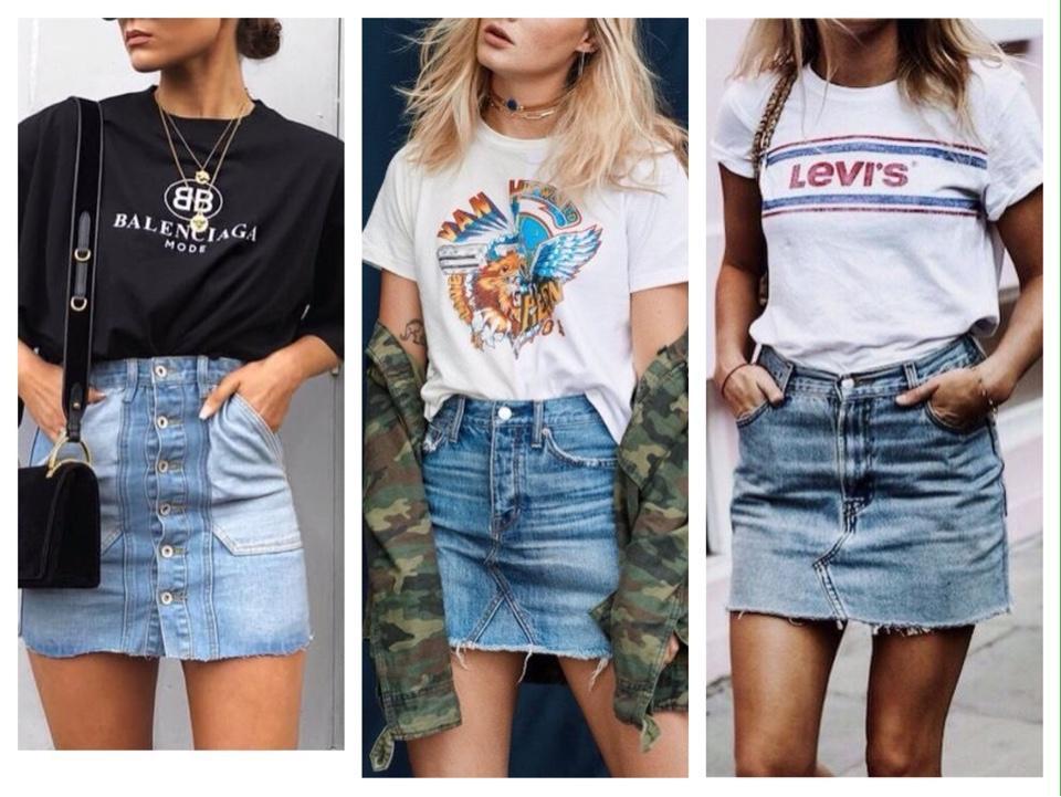 джинсовая юбка с футболкой