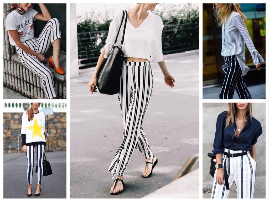 городские комплекты с брюками в полоску