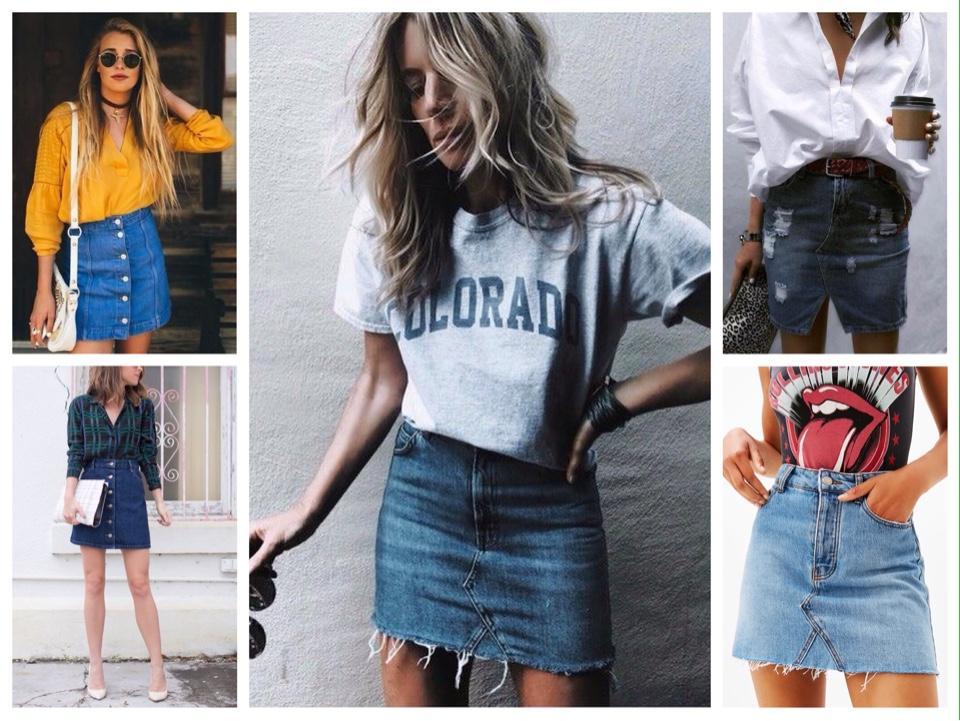 короткая джинсовая юбка комплекты